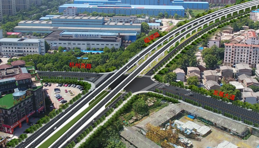 城市道路交叉口上跨效果图