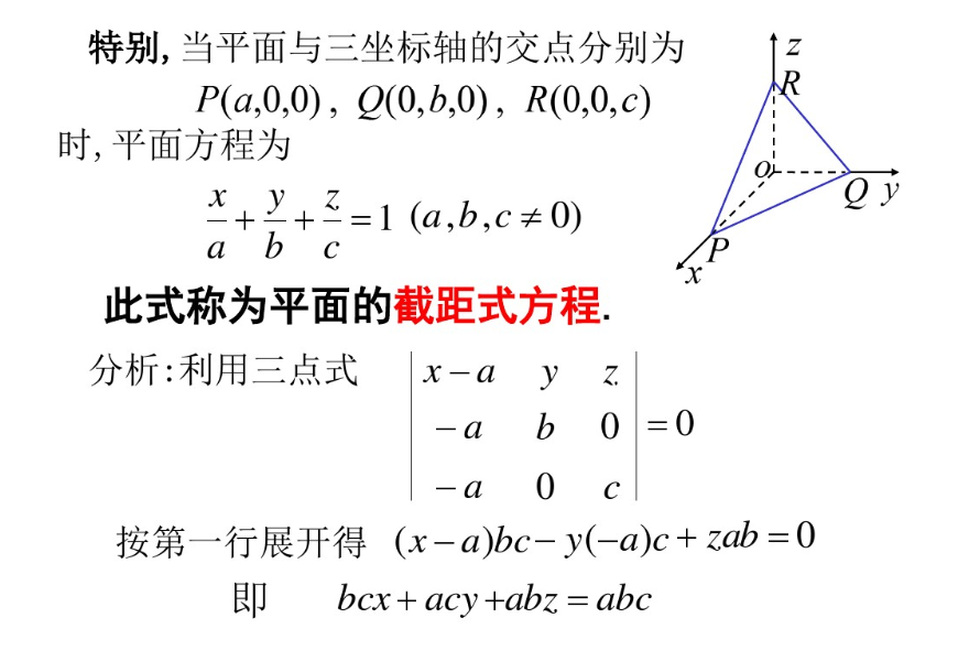 平面方程法向量、夹角、点到平面的距离公式
