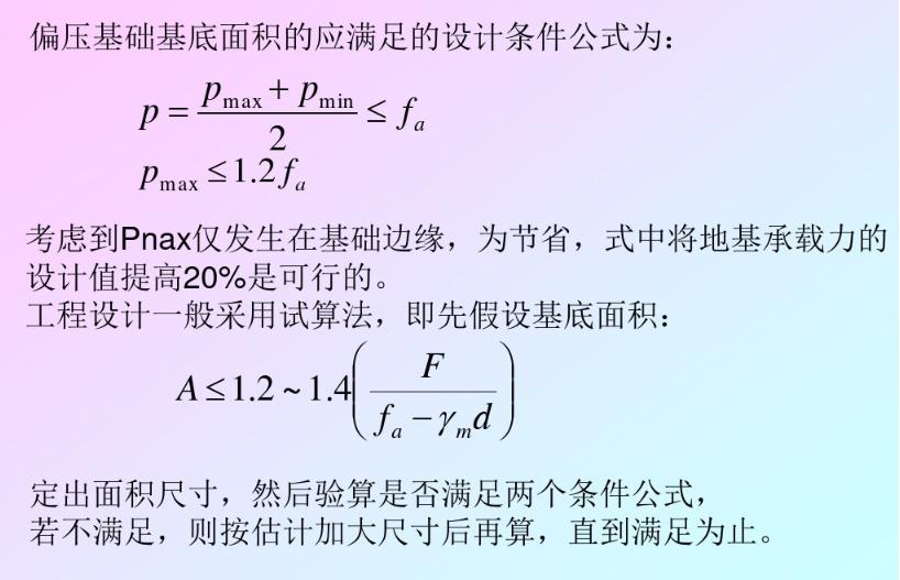 柱下独立基础的地基承载力验算(轴压和偏压)