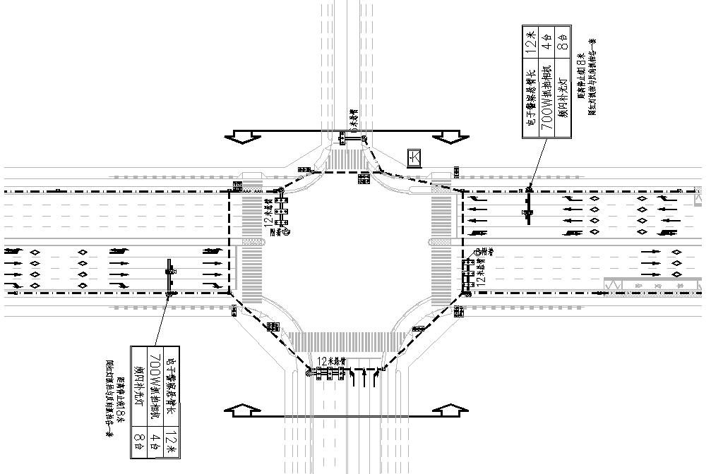 交通信号灯、电子警察及管道预埋平面布置图